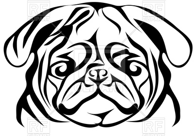 Pug Face   Portrait Of Dog 91135 Silhouettes Outlines Download