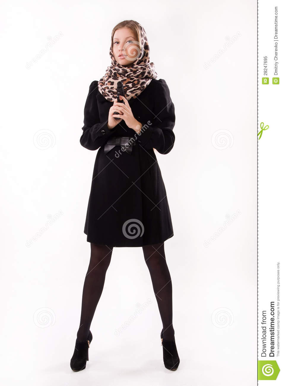Spy Girl In A Black With Gun Royalty Free Stock Photo   Image