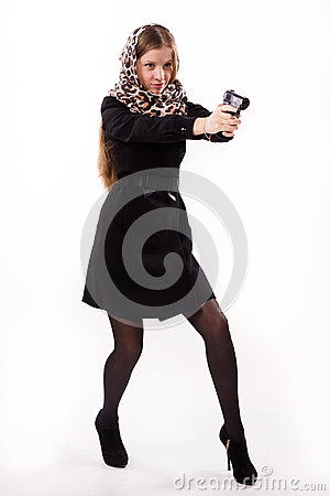 Spy Girl Shoots A Gun Royalty Free Stock Photography   Image  28247707