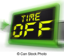 Time Off Digital Clock Shows Holiday From Work Or Study Clipart