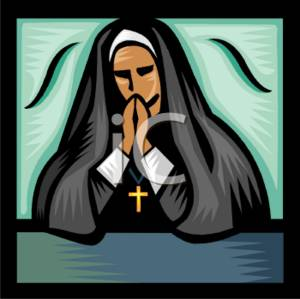 0511 0712 2114 0701 Praying Nun Clipart Image