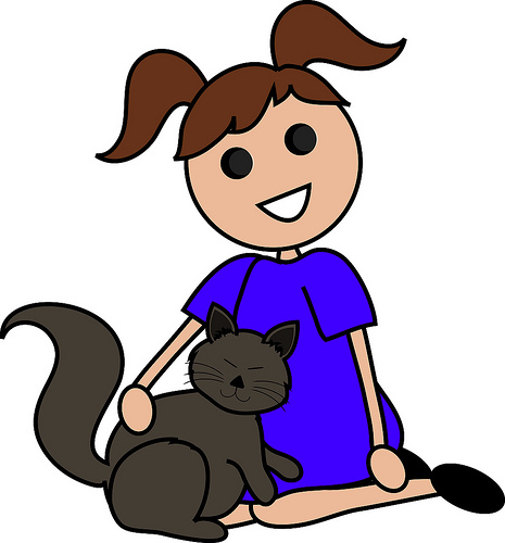 Clip Art Illustration Of A Cartoon Girl Sitting With Her Cat   A Photo