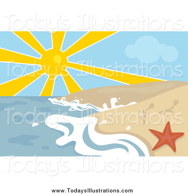 Clipart Of A Sun Over The Ocean Surf Washing Up On The Shore By A Red