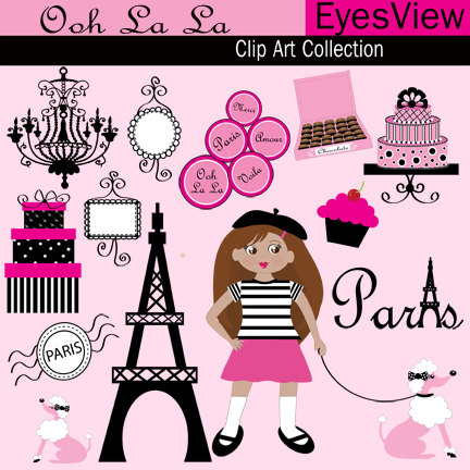 Clipart Ooh La La Paris Clip Art Digital Instant Download Cards