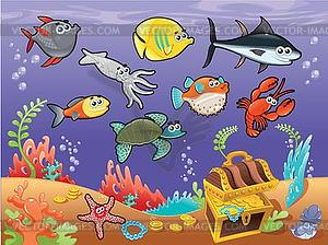 Family Of Funny Fish Under Sea   Vector Clipart
