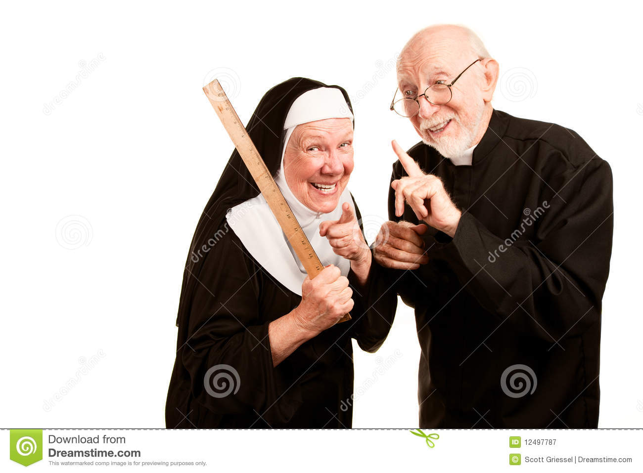 Friendly Priest Admonishes Angry Nun For Using Ruler As A Corporal