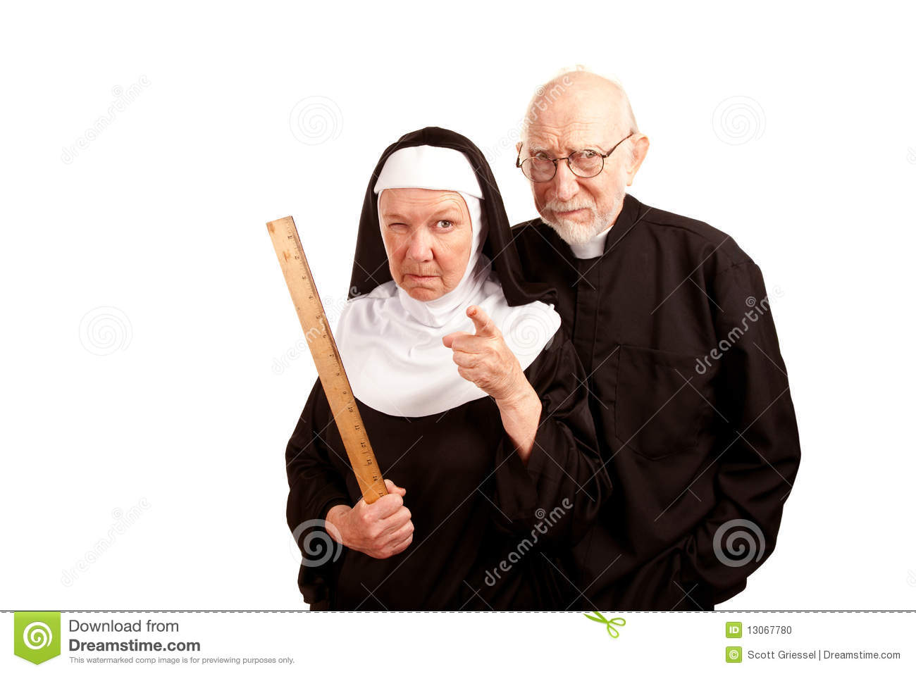 Funny Priest And Nun Stock Photo   Image  13067780