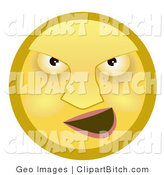 Furious Yellow Smiley Face With Flushed Cheeks Blowing Steam Out Of