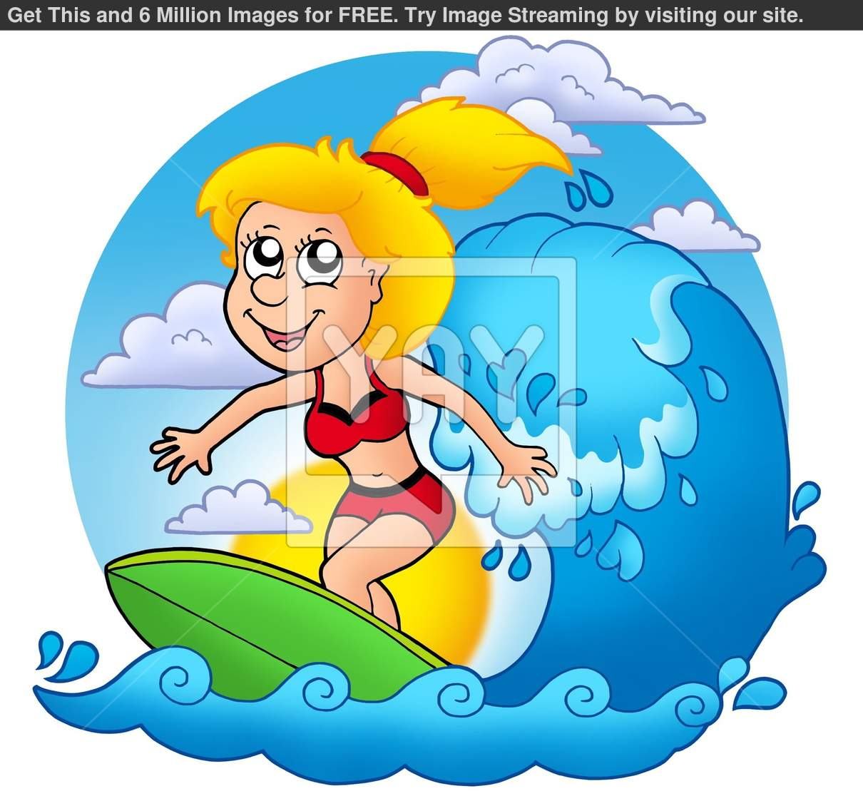 Girl Surf Clipart Surfer Girl With Sun
