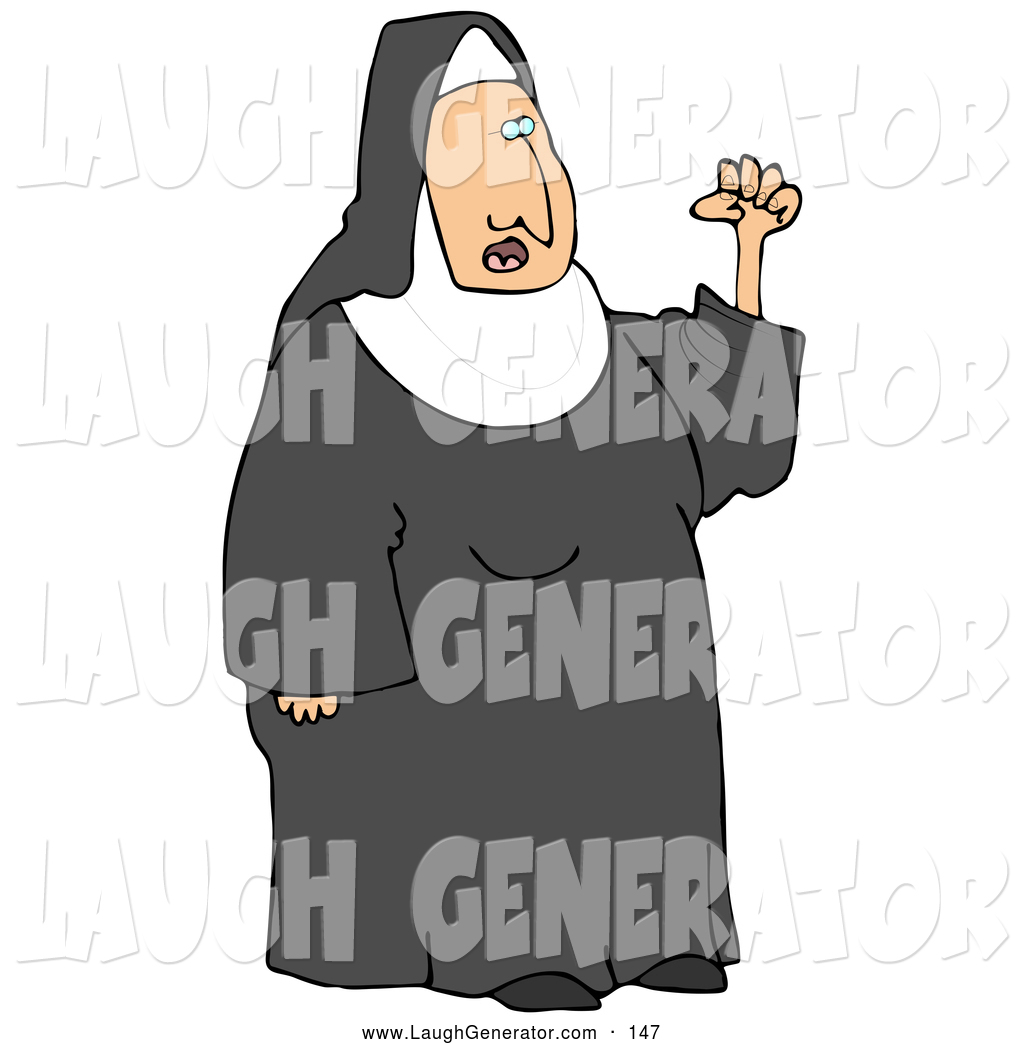 Humorous Clip Art Of A White Frustrated Nun In Black And White Waving
