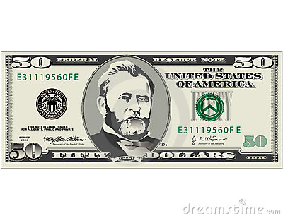 Illustration Of Fifty Dollar Bill Available In Vector Format Also