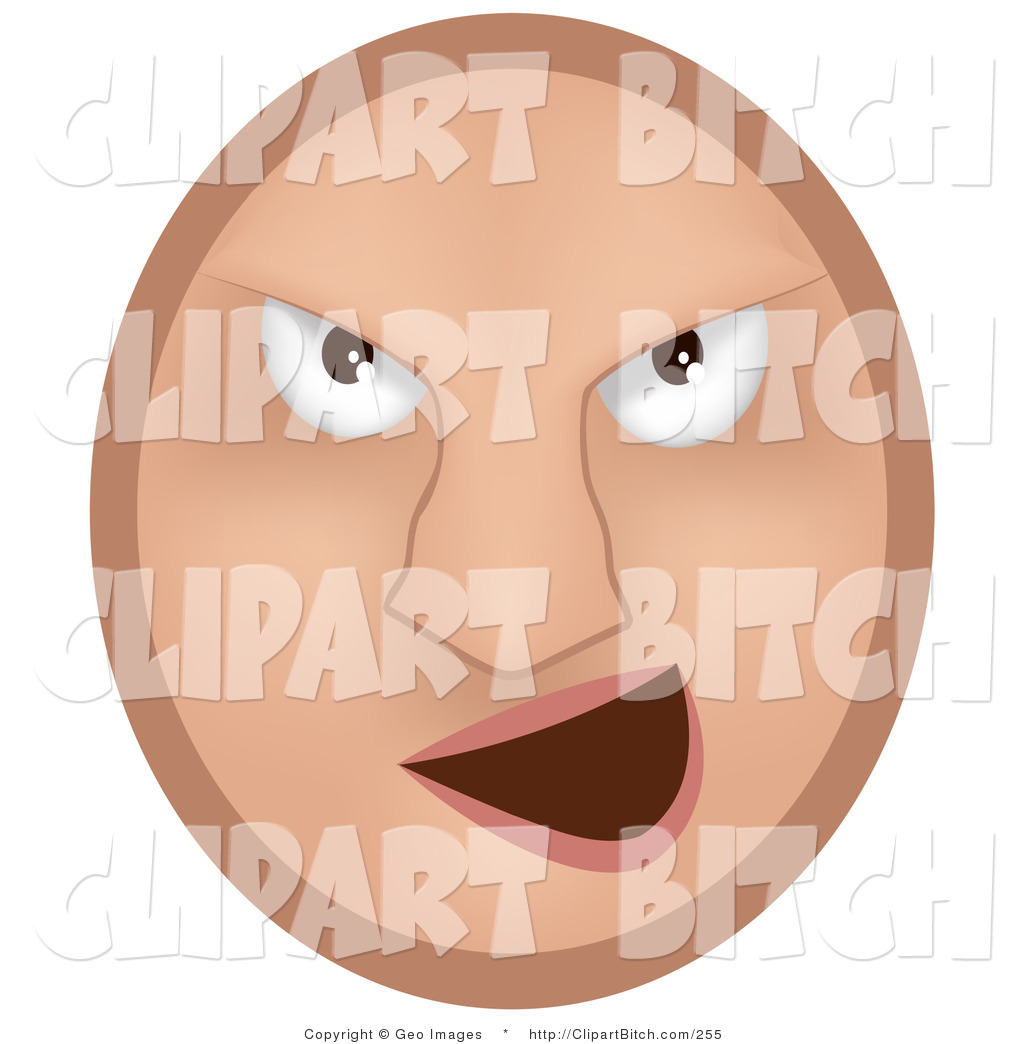 Larger Preview  Clip Vector Art Of A Beige Mean Emoticon Face Bully