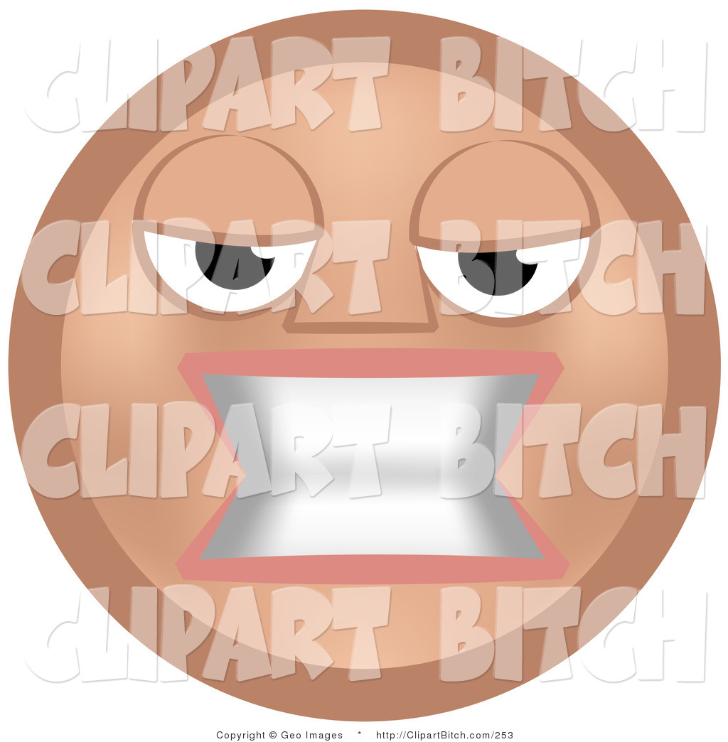 Larger Preview  Clip Vector Art Of A Mean Beige Smiley Face Woman
