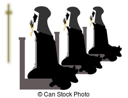 Nuns Group Of Praying Before The Crucifix Clipart