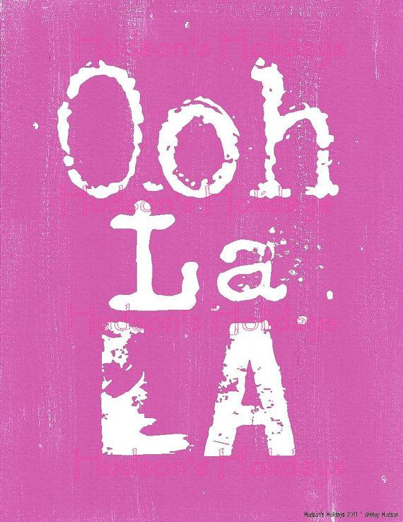 Ooh La La French Sign Digital Pdf   Pink Uprint Art Words Vintage