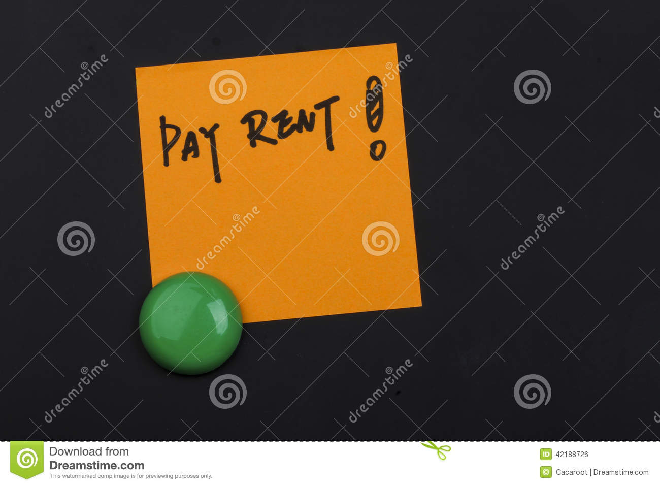Pay Rent Note On Blackboard Stock Photo   Image  42188726