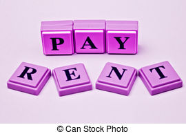 Pay Rent Spelled Out In Colored Blocks