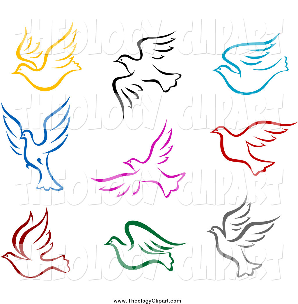 Preview  Clip Art Of Colorful Flying Doves By Seamartini Graphics
