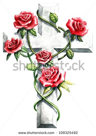 Religious Clip Art Stone Granite Cross Red Pink Roses Green Ivy