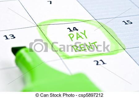 Rent Mark   Calendar Mark With Pay Rent Csp5897212   Search Clipart