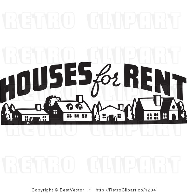 Retro Vector Clip Art Of A Houses For Rent Sign By Bestvector    1204