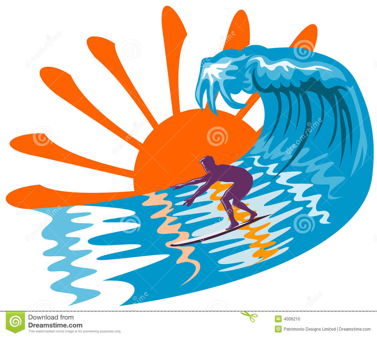 Sun Surf And Surfer Stock Photo   Image  4006210