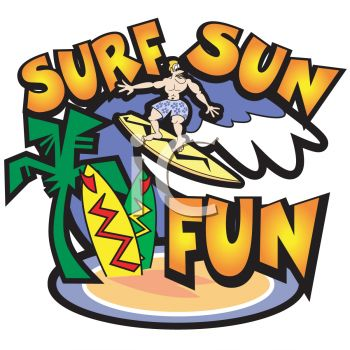 Surf And Sun Logo Graphic   Royalty Free Clipart Image