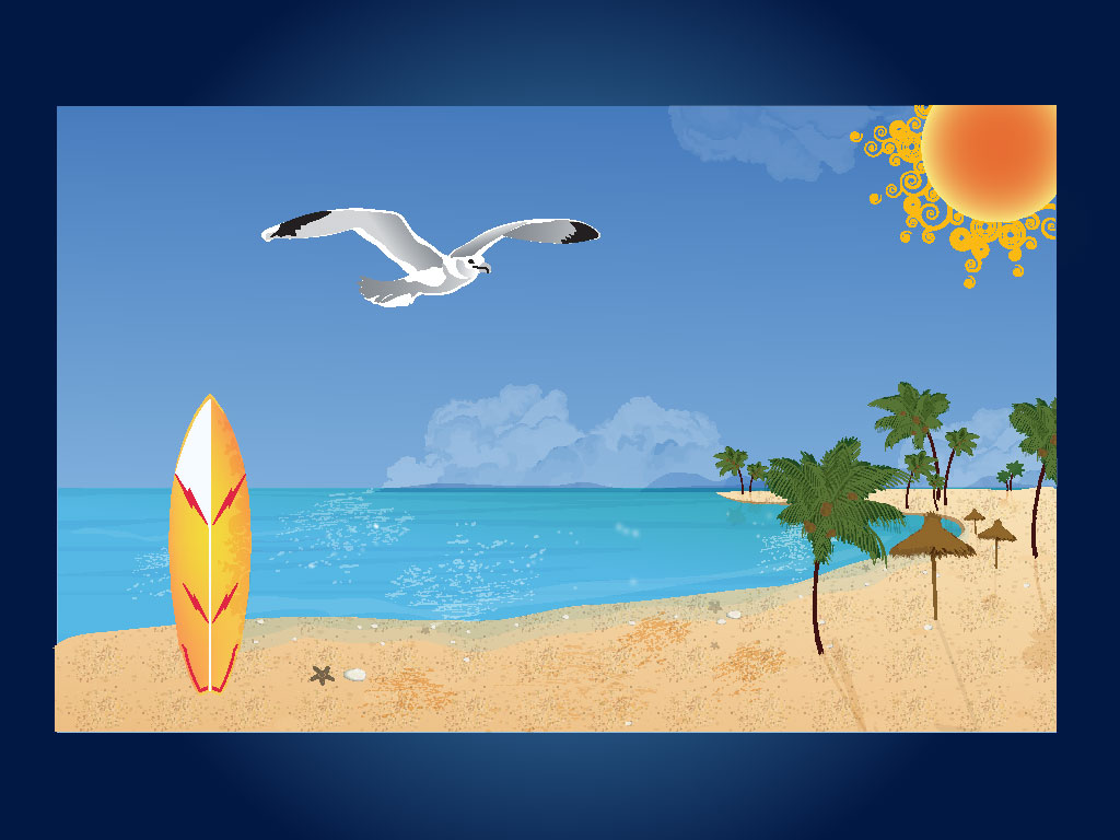 This Cool Beach Scene Features A Stylish Sun Looking Down On A