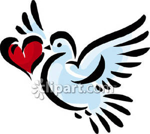 White Dove With A Red Heart   Royalty Free Clipart Picture