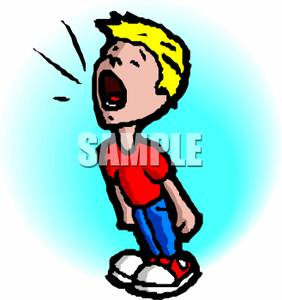 Boy Standing And Shouting   Royalty Free Clipart Picture