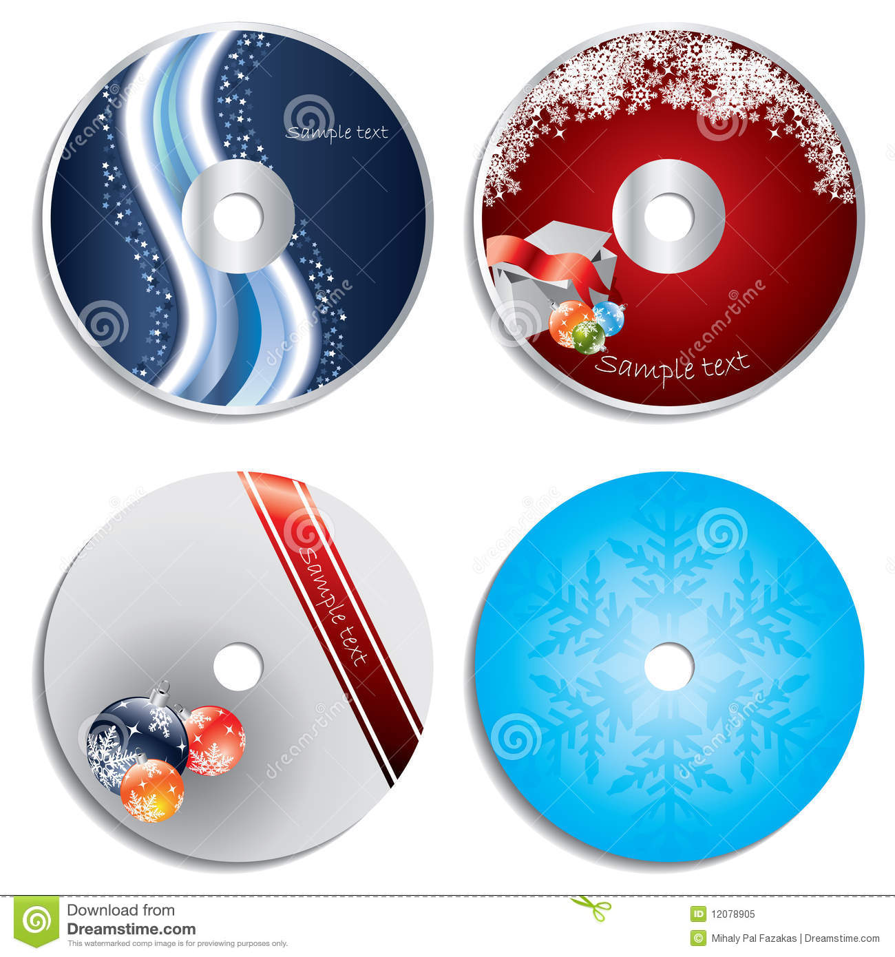 Cd   Dvd Label Christmas Designs Royalty Free Stock Photo   Image