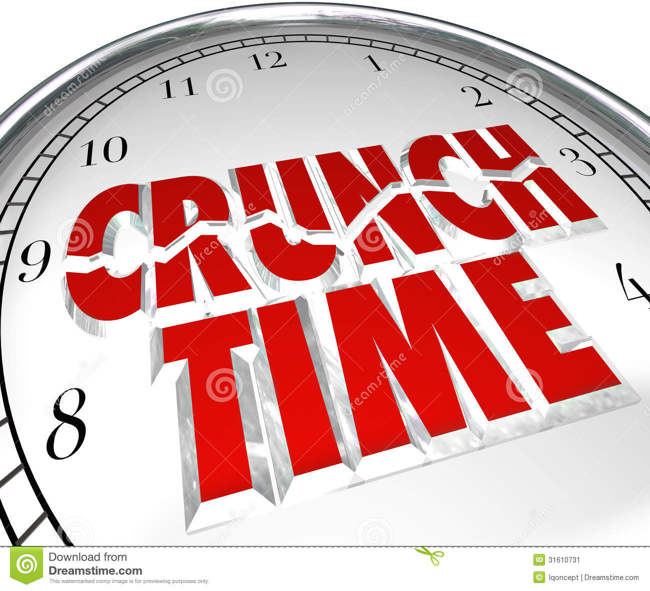 Crunch Time Clock Hurry Rush Deadline Final Moment Stock Image   Image