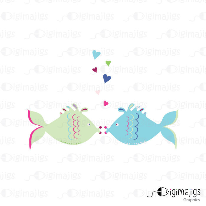 Cute Kissing Fish Clipart Kissing Seahorse By Digimajigs On Etsy