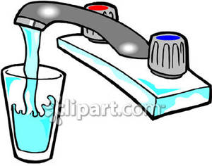 Glass Of Water Filling Up Under A Sink   Royalty Free Clipart Picture