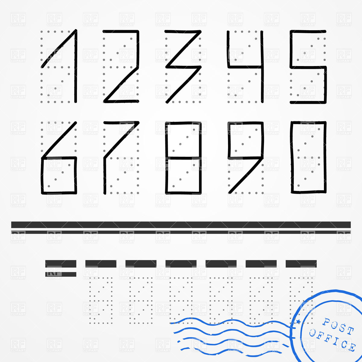 Hand Drawn Zip Code Numbers With Blue Postal Stamp Download Royalty