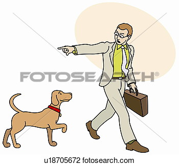 Man Off To Work Telling His Dog To Go Home U18705672   Search Clipart