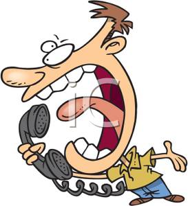 Man Shouting Into A Telephone   Royalty Free Clipart Picture