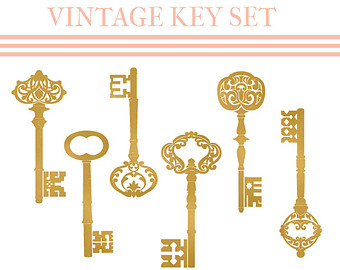 Popular Items For Vintage Key Clipart On Etsy