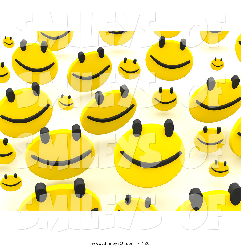 Smiley Clipart Of A Background Of A Group Of Happy Faces Bouncing Over