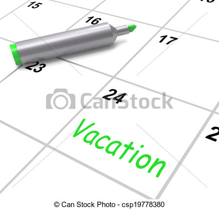 Stock Illustration Of Vacation Calendar Shows Day Off Work Or Holiday
