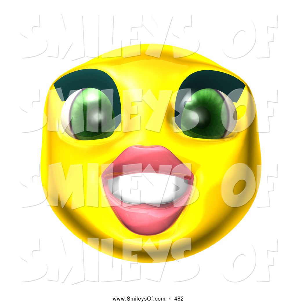 Vector Smiley Clipart Of A Pretty 3d Yellow Female Smiley Face