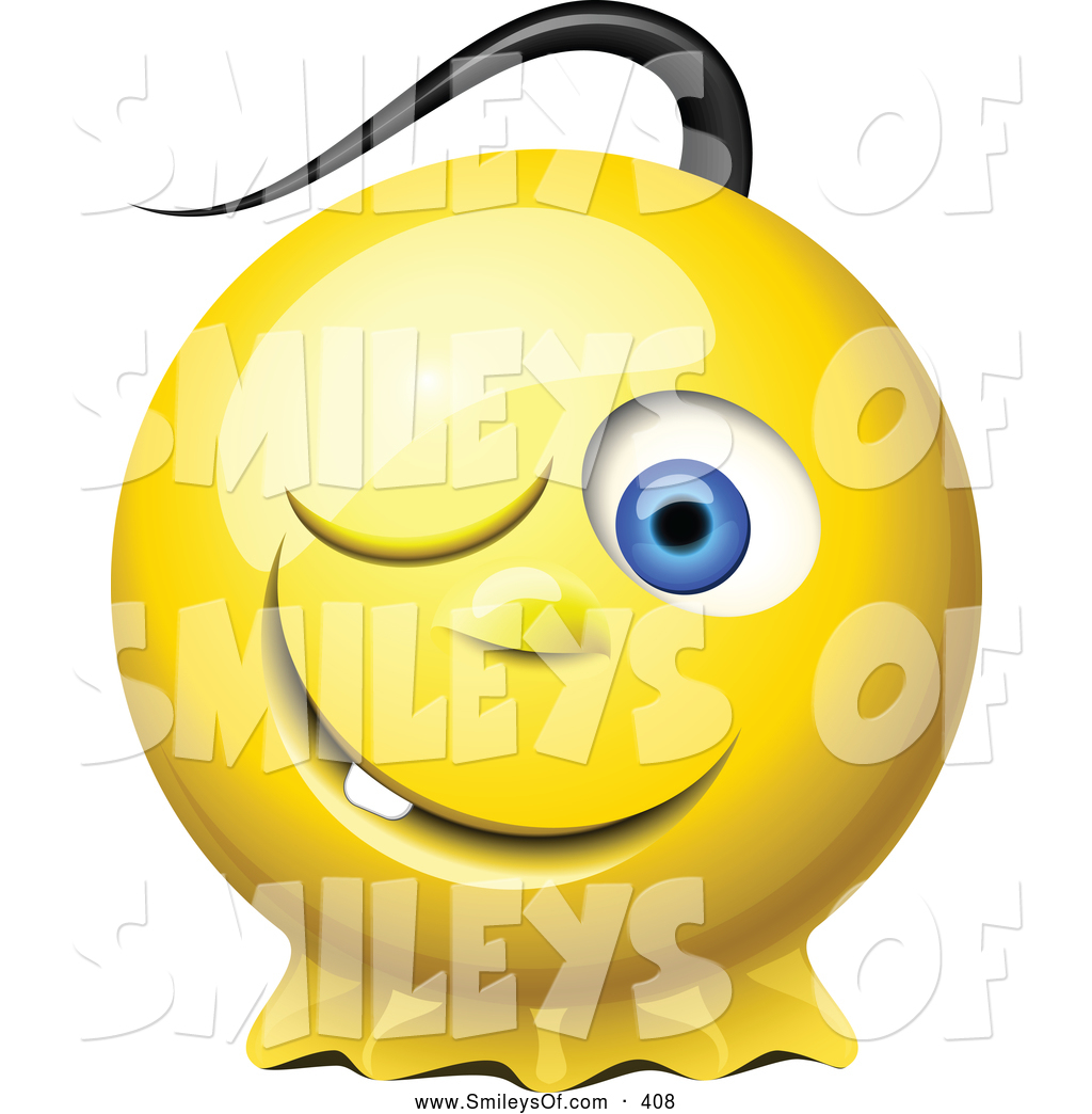 Vector Smiley Clipart Of A3d Winking Yellow Smiley Face With A Pony