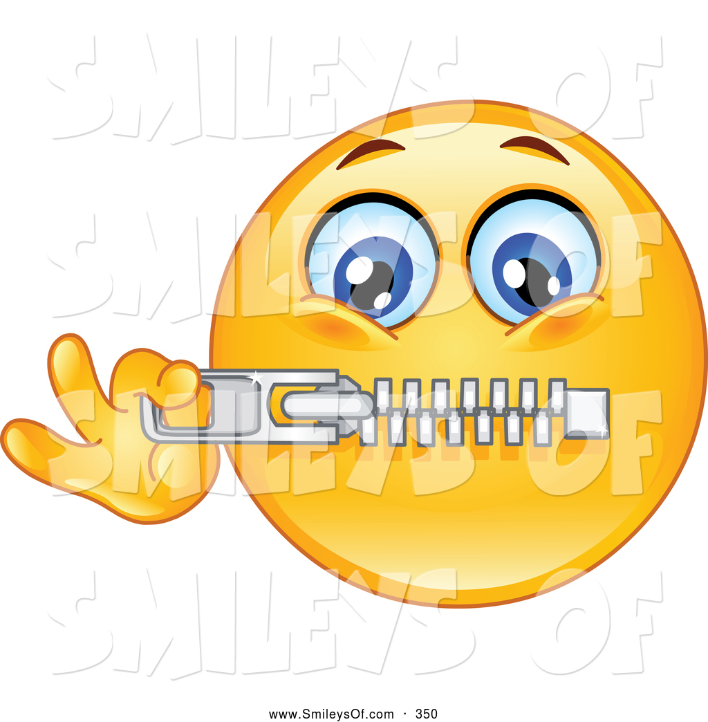 Vector Smiley Clipart Of Acute Emoticon Zipping His Mouth By Yayayoyo