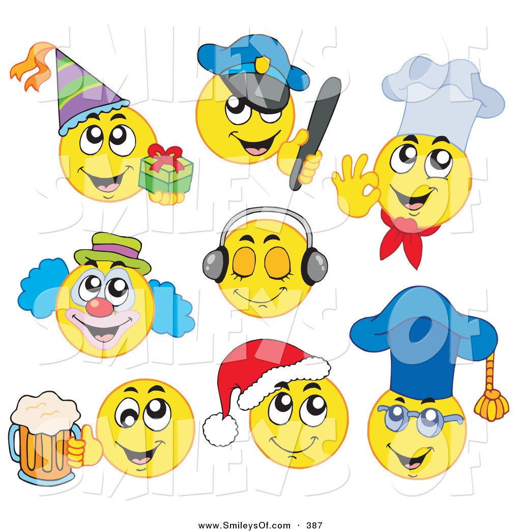 Vector Smiley Clipart Of Adigital Collage Of Yellow Emoticons On White