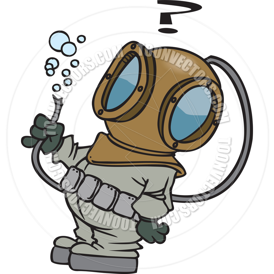 Cartoon Deep Sea Diver By Ron Leishman   Toon Vectors Eps  10036