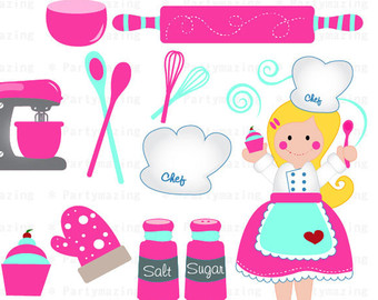 Chef Clipart Set Cupcake Baking Clipart Set Sweet Baking Party Clipart