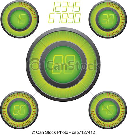 Digital Timer Illustration  Easy Editable 15 Min Interval Timer Icons