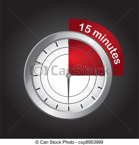 Eps Vectors Of 15 Minutes   Timer Clock Over Black Background 15