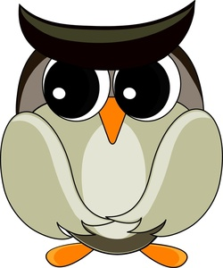 Gray Owl Clipart Image   A Worried Owl Looking Nervously Off To The