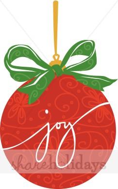 Joy Word Art On Christmas Ornament   Christmas Ornament Clipart